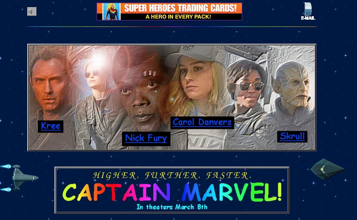 Captain Marvel website design