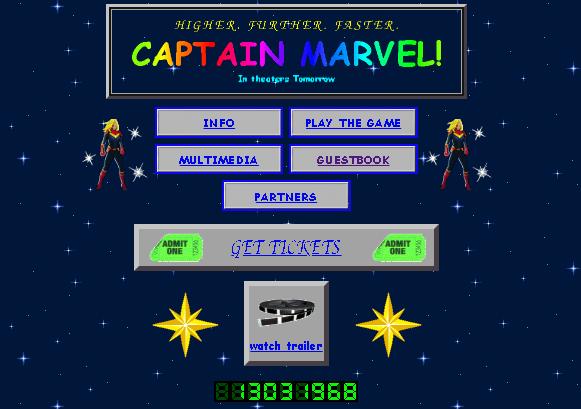 Captain marvel website design comic sans